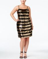 Soprano Trendy Plus Size Sequined Striped Dress