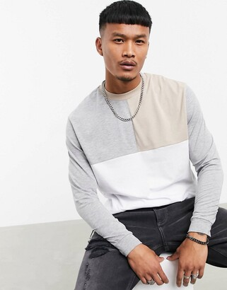 ASOS DESIGN relaxed long sleeve t-shirt with colour block in neutrals