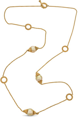 BELPEARL 18K Over Silver 12Mm South Sea Golden Chain Necklace