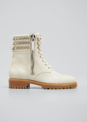 Christian Louboutin Winter Spikes Leather Combat Booties