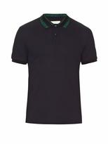 Gucci Lamé collar cotton-blend polo shirt