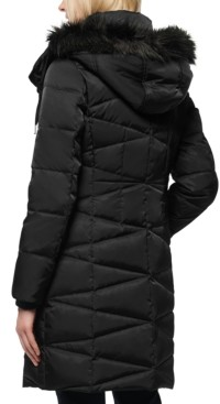 Andrew Marc Faux-Fur-Trim Hooded Down Puffer Coat
