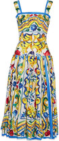 Dolce & Gabbana Pleated Printed Cotton-poplin Midi Dress - Yellow