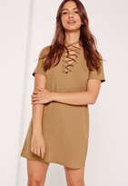 Missguided Lace Up Front Shift Dress Camel