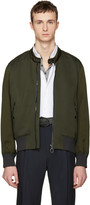 Lanvin Green Satin Combo Bomber Jacket