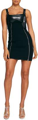 Tiger Mist Ginger Zip & Buckle Mix Media Tube Minidress