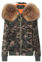 Mr & Mrs Italy Camouflage fur-trimmed coat