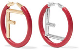 Fendi Gold And Silver-tone Leather Hoop Earrings - Red