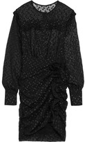 Isabel Marant Adriana Ruffled Polka-dot Fil Coupé Mini Dress - Black