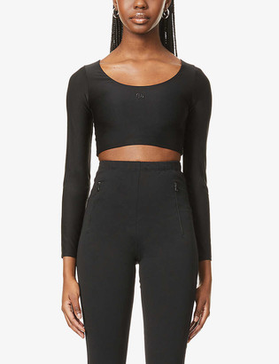 O'dolls Fitted scoop-neck stretch-jersey crop top