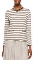 Joan Vass Long-Sleeve Striped Top, Petite