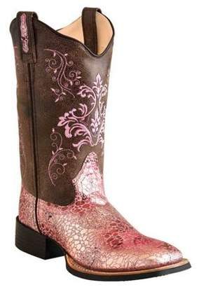 Oldwest Old West Women's Leatherette Broad Square Toe Boots
