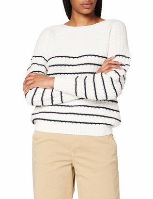 Dorothy Perkins Women's Ivory Stripe Textured Wide Neck Jumper Pullover Sweater LGE