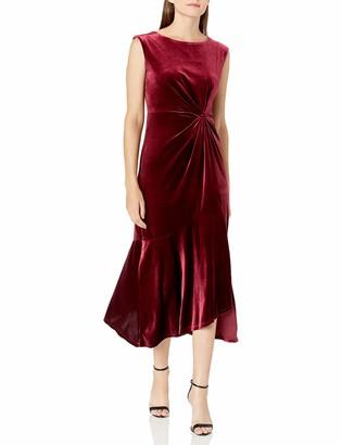 Gabby Skye Women's Cap Sleeve Round Neck Solid A-Line Midi Dress