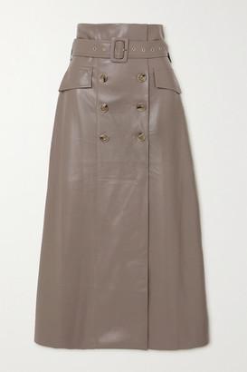 Nanushka Zane Belted Vegan Leather Skirt - Mushroom