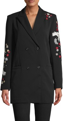 Nicole Miller Crane And Cherry Blossom Embroidered Blazer