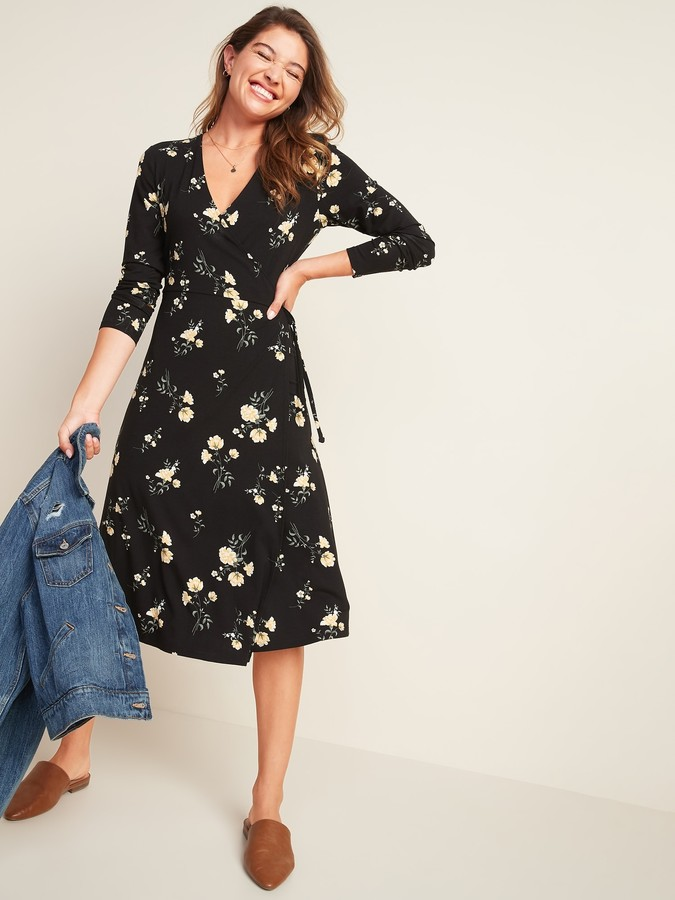Old Navy Fit & Flare Floral-Print Midi Wrap Dress for Women
