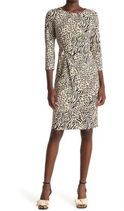 T Tahari Animal Print Twist Sheath Dress