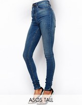 ASOS Tall ASOS TALL Ridley High Waist Ultra Skinny Jeans in Mid Stonewash