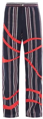 Ahluwalia Striped Cotton-hopsack Track Pants - Navy Multi