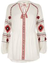 River Island Womens White long sleeve embroidered top