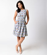 Emily And Fin 1950s Style Grey & Multicolor Ornamental Lights Print Sleeveless Lucy Dress
