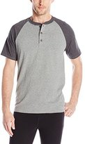 Hanes Men's X-Temp Short-Sleeve Color-Block Henley Shirt