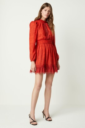French Connenction Dayo Drape Lace Print Dress