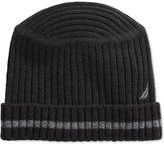 Nautica Hat, Striped Flat-Top Ribbed Beanie