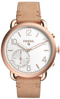 Fossil Q Tailor Rose Gold-tone Stainless Steel with Light Brown Leather Strap Hybrid Smartwatch