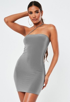 Missguided Gray Slinky Asymmetric Mini Dress