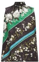 Erdem Koren Daffodil Ditsy-print Floral-jacquard Blouse - Womens - Black Green