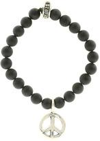 King Baby Studio - Onyx Bead Bracelet (Silver Peace) - Jewelry