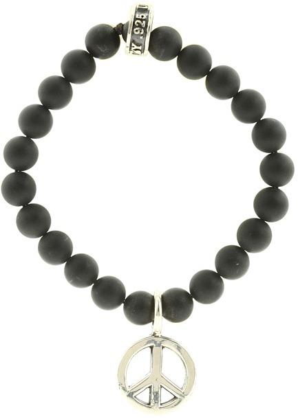 King Baby Studio Onyx Bead Bracelet (Silver Peace) - Jewelry