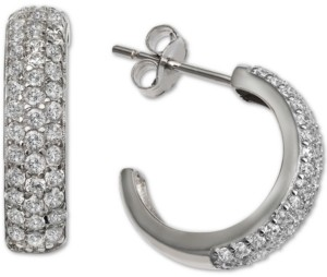 """Giani Bernini Cubic Zirconia Small Hoop Earring in Sterling Silver, 0.66"""", Created For Macy's"""