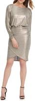 Vince Camuto Metallic Long Sleeve Cocktail Dress
