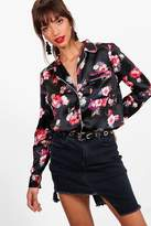 boohoo Emma Floral Woven Pyjama Shirt multi