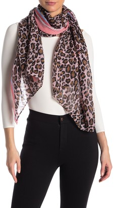 David & Young Leopard Print Pleated Scarf