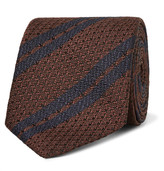 Ermenegildo Zegna 7cm Striped Silk Tie - Chocolate