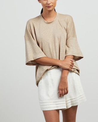 Andrea & Joen - Women's Neutrals Basic T-Shirts - Martine Oversized Tee - Size M/L at The Iconic