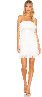 BCBGMAXAZRIA Strapless Ruffle Mini Dress