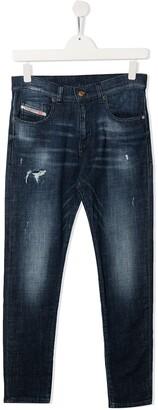 Diesel TEEN dark-wash distressed jeans
