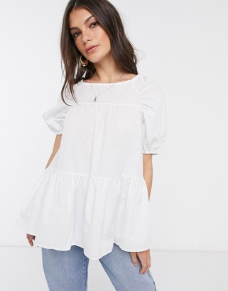 Asos Design DESIGN tiered top in cotton