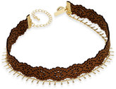 INC International Concepts Gold-Tone Faux Leather and Chain Choker Necklace, Only at Macy's