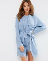 Asos Lace Long Sleeve Trim Robe