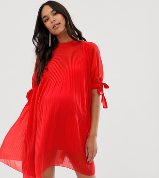 Asos DESIGN Maternity pleated trapeze mini dress with tie sleeves-Red