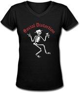 JoanT Cotton Shirts JoanT Social Distortion Skeleton Logo Tees Womens V-Neck Band Shirts Black M