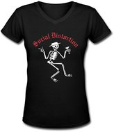 JoanT Cotton Shirts JoanT Social Distortion Skeleton Logo Tees Womens V-Neck Band Shirts M