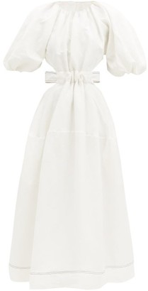 Aje Mimosa Puff-sleeved Cutout Linen-blend Midi Dress - White