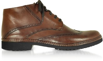 Pakerson Tan Handmade Italian Leather Wingtip Ankle Boots